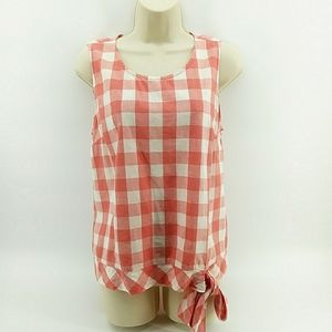 J.Crew Factory Cotton Linen Gingham Red White Bow Top 6